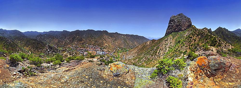 360° panorama of the striking volcanic vent Roque El Cano, Vallehermoso, La Gomera, Canary Islands, Spain, Europe