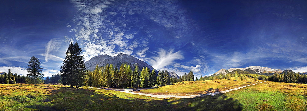360° mountain panorama with cumulus clouds in the Wettersteingebirge range, Mt. Suedwand with view on the Mieminger Kette and Wettersteinmassiv mountains in Leutasch, Tyrol, Austria, Europe