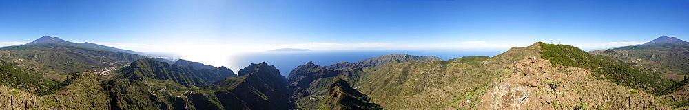 360 degree panorama of volcano Pico Verde, Masca Gorge, Teno mountains, volcano Pico del Teide, Tenerife, Canary Islands, Spain, Europe