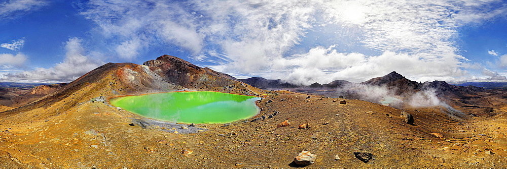 360 panorama with the green sulphurous Emerald Lakes and volcanio Mt Tongariro, Tongariro National Park, Manawatu-Wanganui, North Island, New Zealand, Oceania - 832-379224