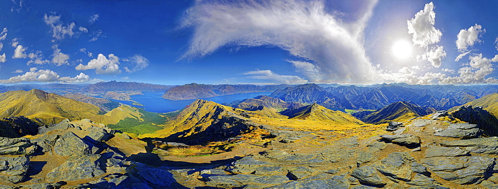360  panoramic view from summit of Ben Lomond, Lake Wakatipu, Queenstown, Otago Region, South Island, New Zealand, Oceania