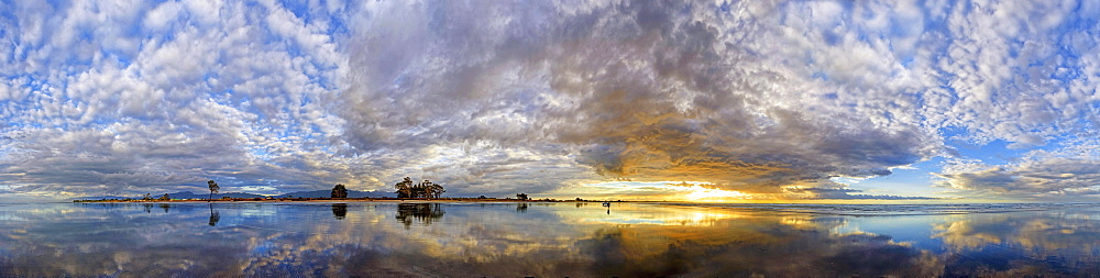 360 panorama of the Carters Beach at sunset, water reflection, Westport, West Coast, Southland, New Zealand, Oceania