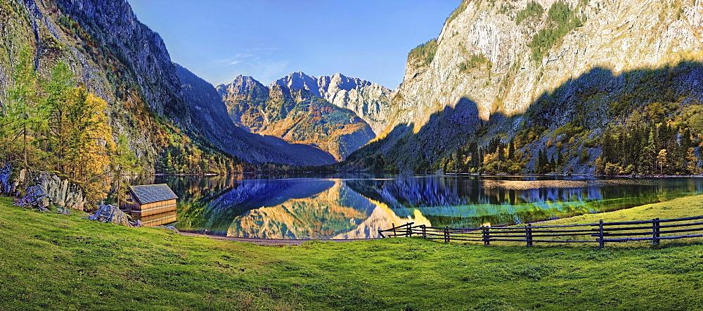 Obersee, Berchtesgarden National Park, Schonau am Konigssee, Berchtesgaden, Bavaria, Germany, Europe