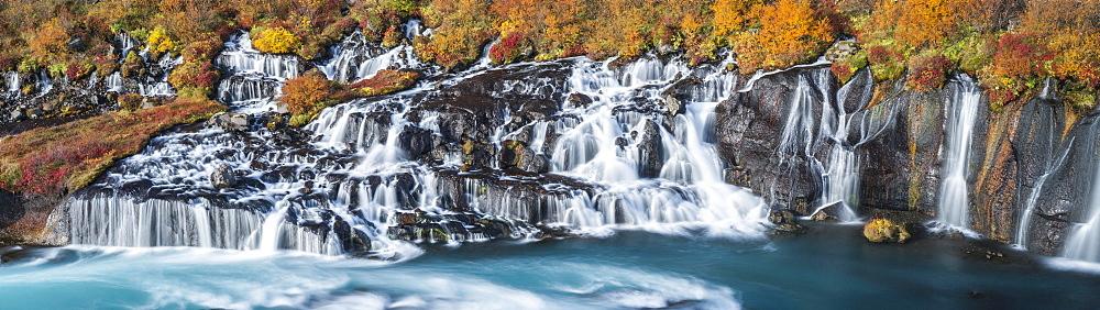Hraunfossar waterfall in autumn, Vesturland, West Iceland, Iceland, Europe