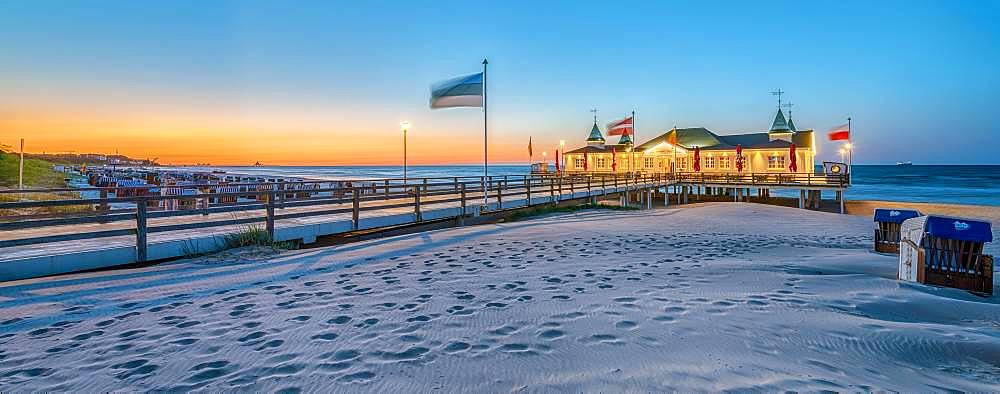 Evening mood, illuminated pier Ahlbeck, Usedom, Baltic Sea, Germany, Europe