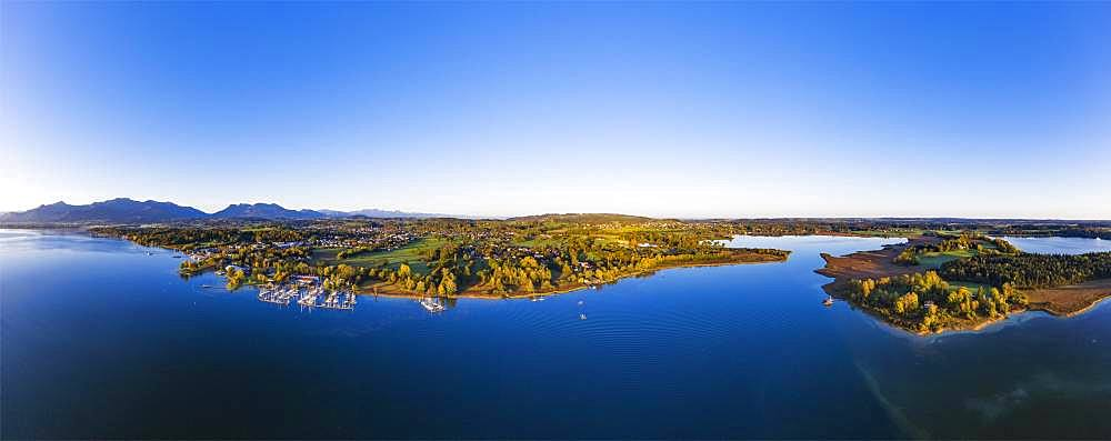 Prien am Chiemsee and Schafwaschener Bucht with peninsula Sassau, Chiemsee, Chiemgau, aerial view, Upper Bavaria, Bavaria, Germany, Europe