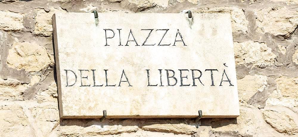 Sign, Piazza della Liberta, San Marino, Europe