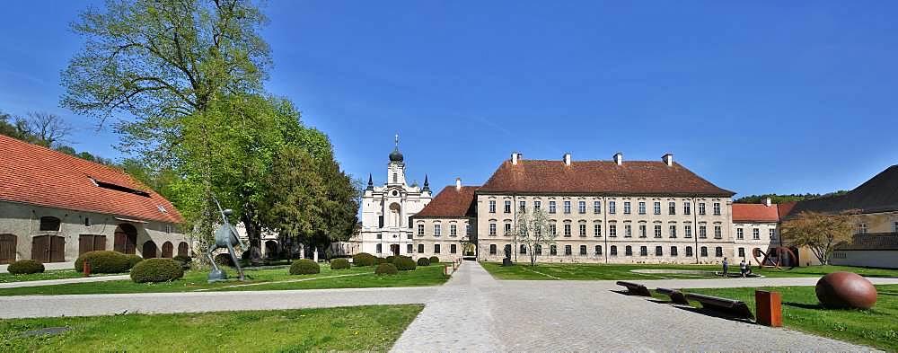Raitenhaslach Monastery, St. George's Church and Academy Centre TUM Raitenhaslach, Burghausen, Upper Bavaria, Bavaria, Germany, Europe