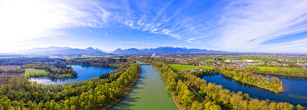 Panorama of the Inn Valley, Hochstrasser See and Happinger See, Raubling, Rosenheim County, drone shot, foothills of the Alps, Upper Bavaria, Bavaria, Germany, Europe