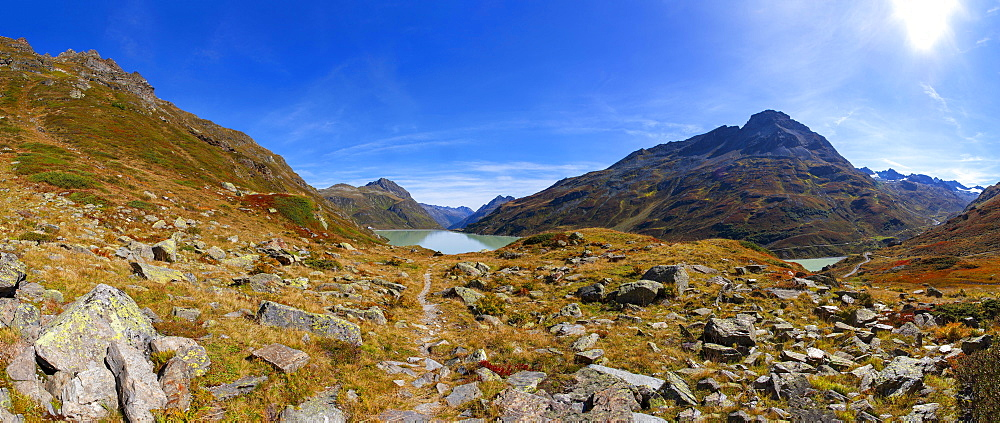 Hiking trail to the Klostertal, Bielerhoehe, Silvrettasee, Silvretta Stausee, Silvretta Group, Vorarlberg, Austria, Europe