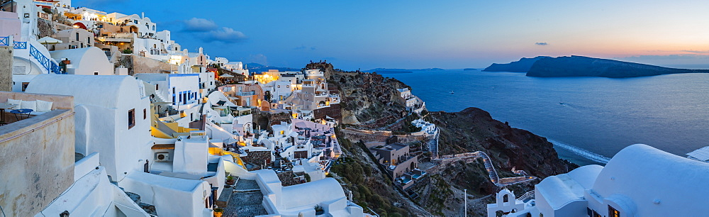 Sunset afterglow at dusk in Oia, Santorini, Greek Island, Greece, Europe