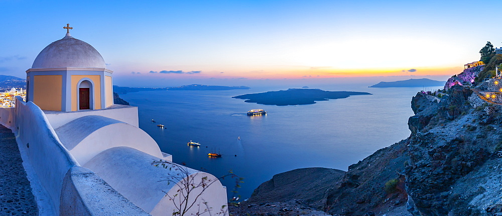 View of Greek Church of Saint Stylianos at dusk, Firostefani, Santorini (Thira), Cyclades Islands, Greek Islands, Greece, Europe