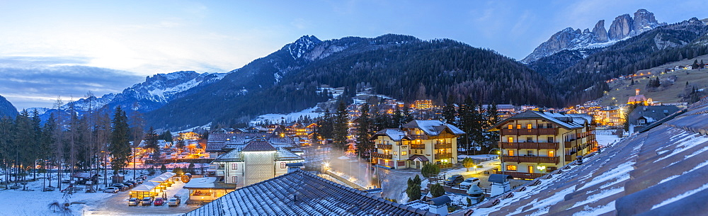 Panoramic rooftop view of Campitello di Fassa and GrohmannspitzePunta Grohmann at dusk in winter, Val di Fassa, Trentino, Italy, Europe - 844-18877