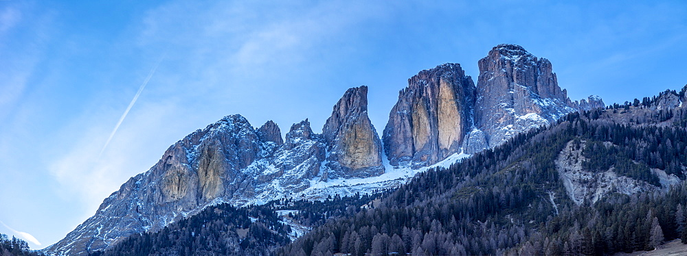 Panoramic view of Grohmannspitze Punta Grohmann at dusk in winter, Val di Fassa, Trentino, Italy, Europe - 844-18878
