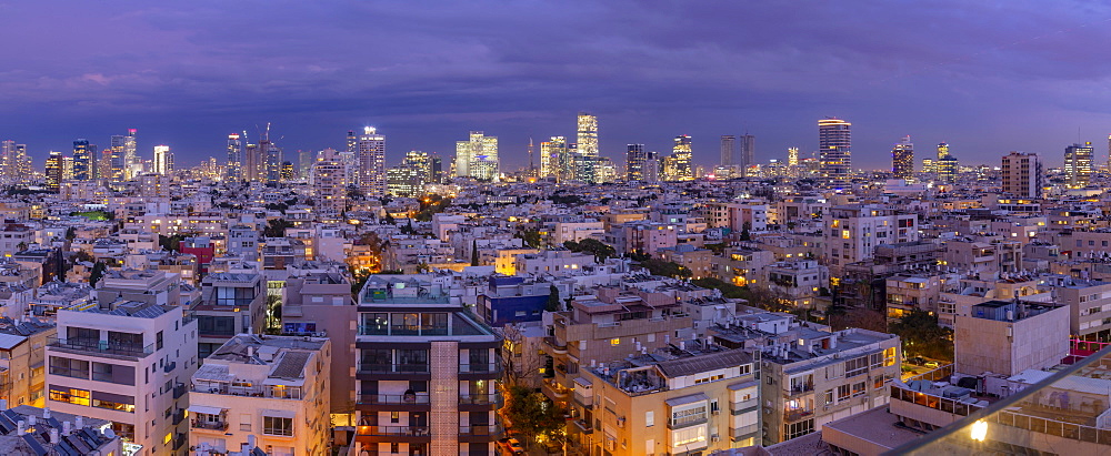 Elevated view of Tel Aviv skyline at dusk, Jaffa visible in the background, Tel Aviv, Israel, Middle East