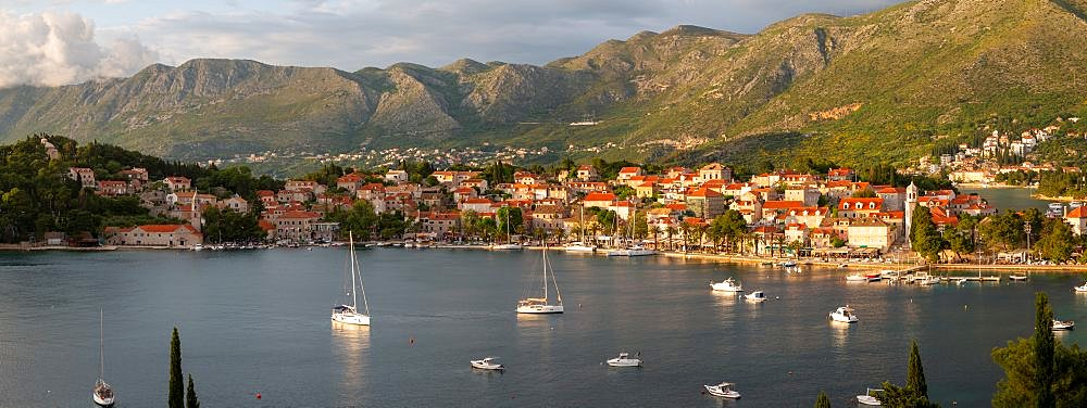 Panoramic view of town at sunset from elevated position, Cavtat on the Adriatic Sea, Cavtat, Dubronick Riviera, Croatia, Europe