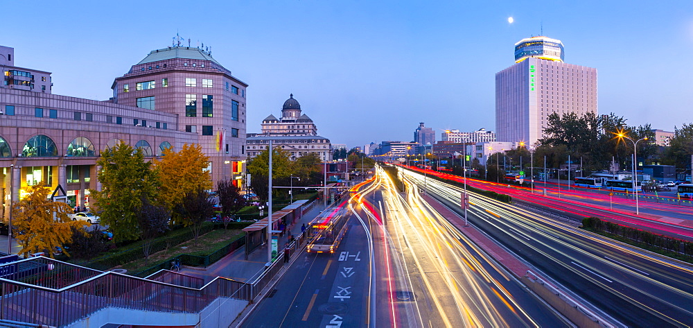 Traffic trail lights on major road near Beijing Zoo at dusk, Beijing, People's Republic of China, Asia - 844-21885