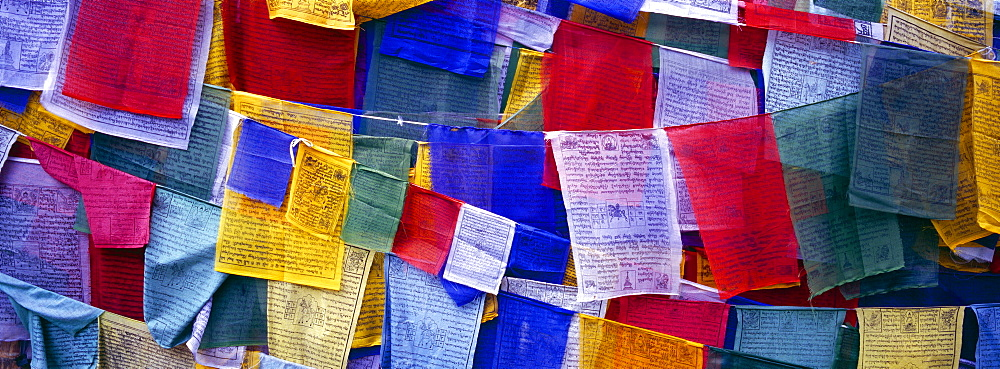 Prayer flags, Tashiding, Sikkim, Northern India, India,  Asia - 851-410