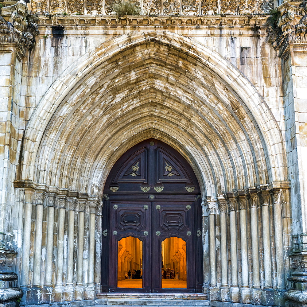 Entrance to the Alcobaca Monastery, Alcobaca, Portugal