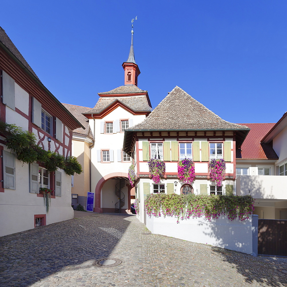 Historic centre with town gate, Burkheim, Kaiserstuhl, Breisgau, Black Forest, Baden Wurttemberg, Germany, Europe