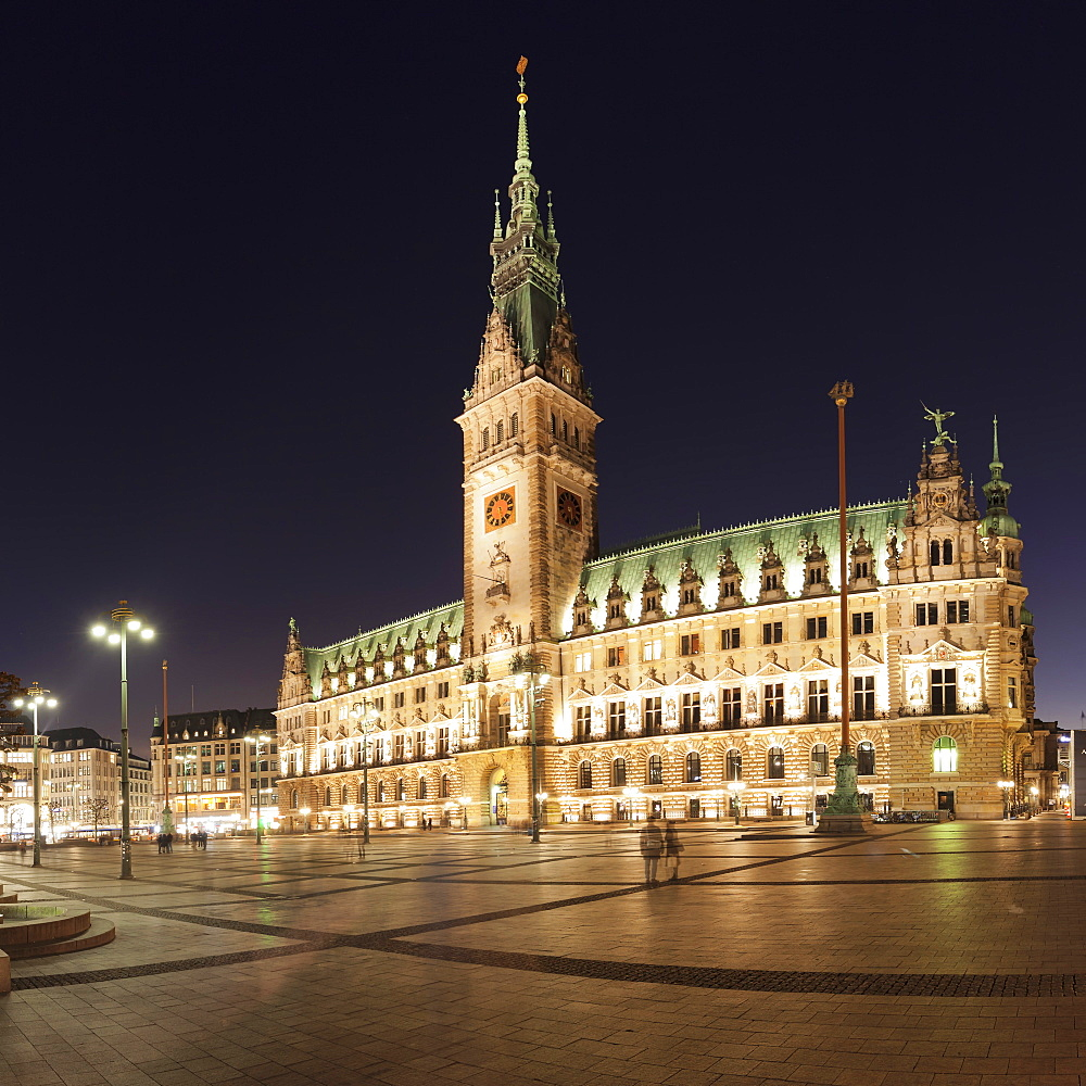 Rathaus (city hall) at Rathausmarkt place, Hamburg, Hanseatic City, Germany, Europe
