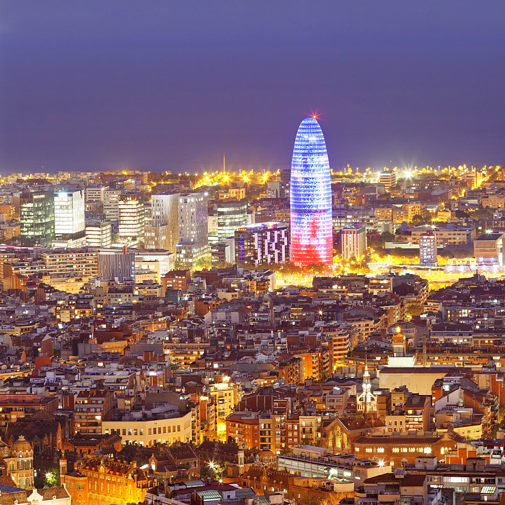 Barcelona Skyline with Torre Agbar Tower, Barcelona, Catalonia, Spain, Europe