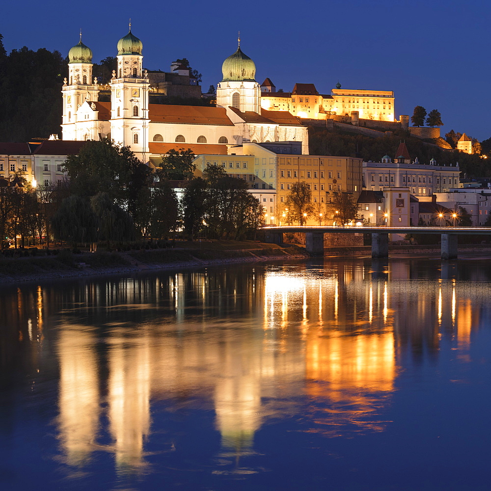 View over Inn River to Cathedral of St.Stephen and Veste Oberhaus fortress, Passau, Lower Bavaria, Germany - 1160-3989