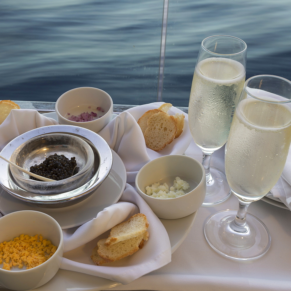 Chilled champagne and caviar with all the trimmings, al fresco on a luxury cruise ship, Red Sea, near Sharm El Sheikh, Egypt, North Africa