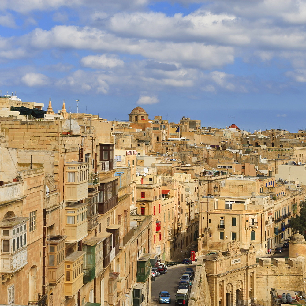 View of the old town and Victoria Gate from the Upper Barraca Gardens, Valletta, Malta, Europe