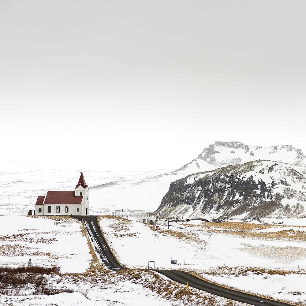 Ingjaldsholskirkja church, near Hallissandur, Snaefellsnes, Iceland, Polar Regions