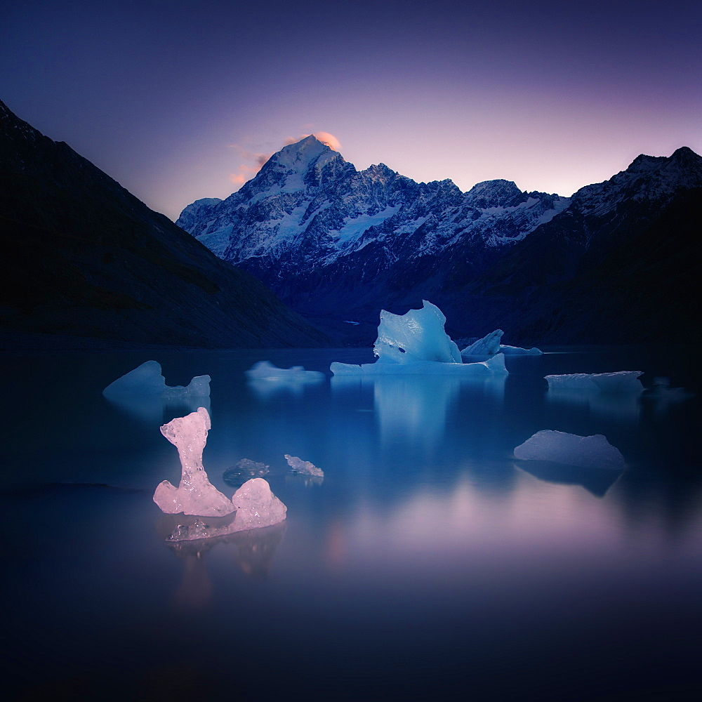 Hooker Glacier Lake, Mount Cook (Aoraki), Hooker Valley Trail, UNESCO World Heritage Site, South Island, New Zealand, Pacific - 1216-321