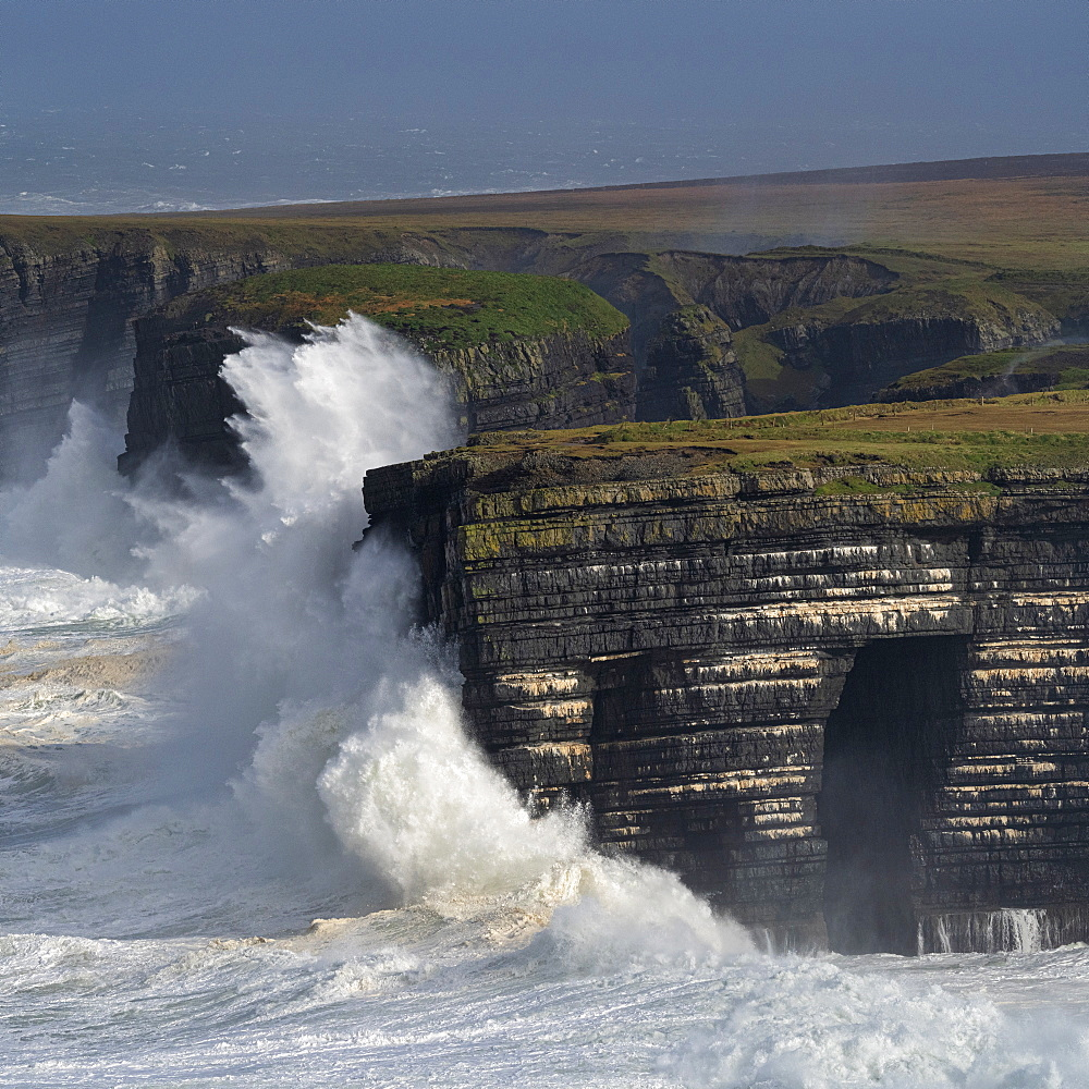 Storm surge, Loop Head, County Clare, Munster, Republic of Ireland, Europe - 1240-365