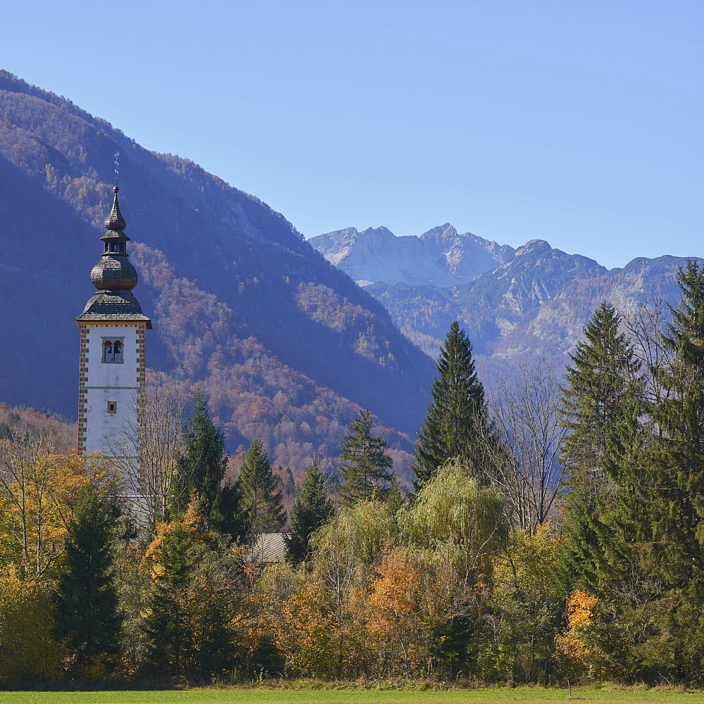 Church of St. John The Baptist with Triglav mountains in the background, Triglav National Park, Slovenia, Europe - 1273-21