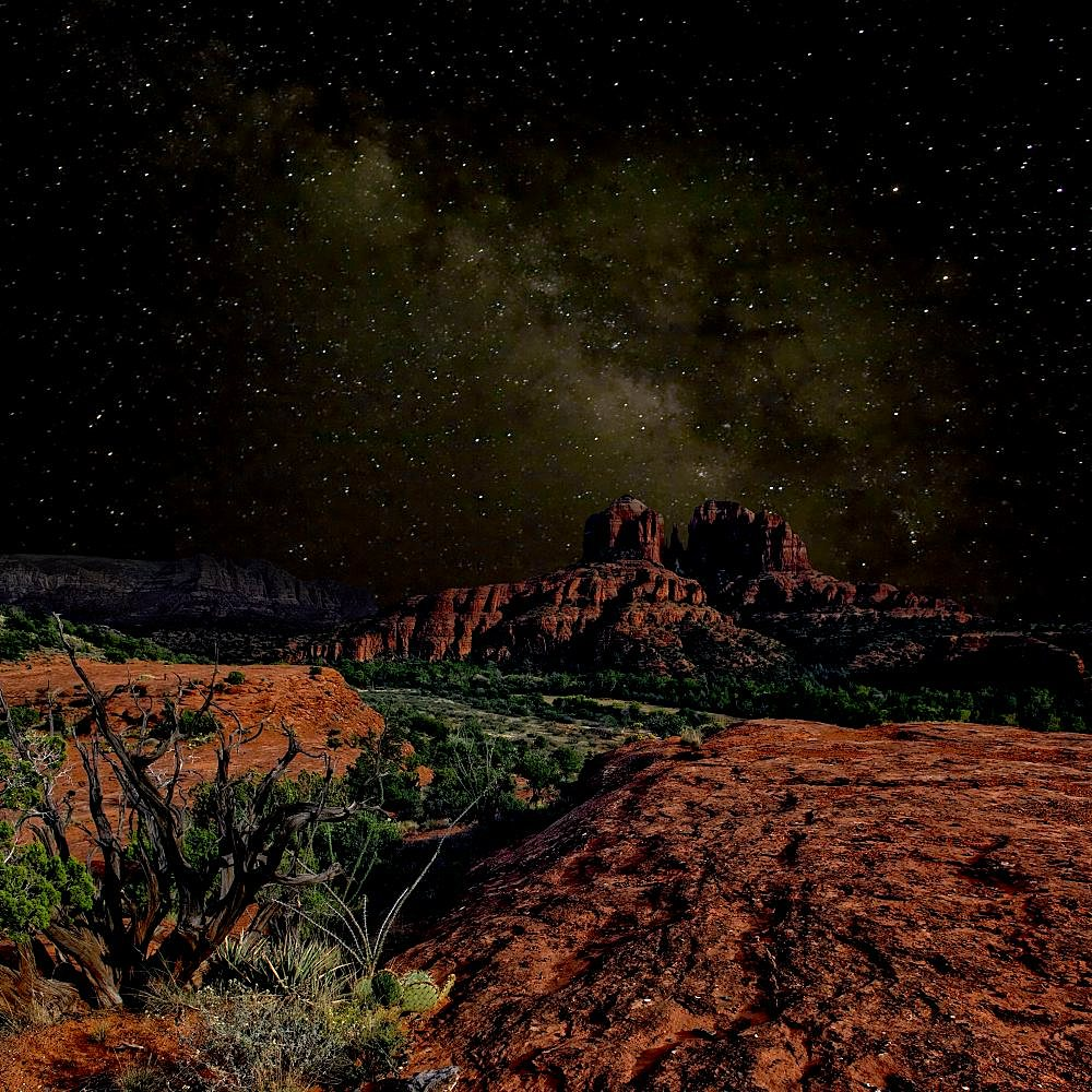 A composite image of Cathedral Rock in Sedona AZ under the starlight of the Milky Way. - 1311-102