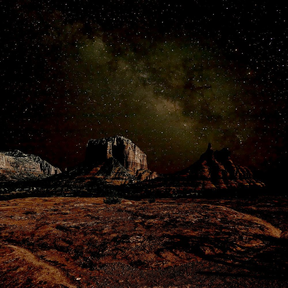 HDR composite of Bell Rock and Courthouse Butte under the Milky Way night Sky. Located in Sedona. - 1311-103