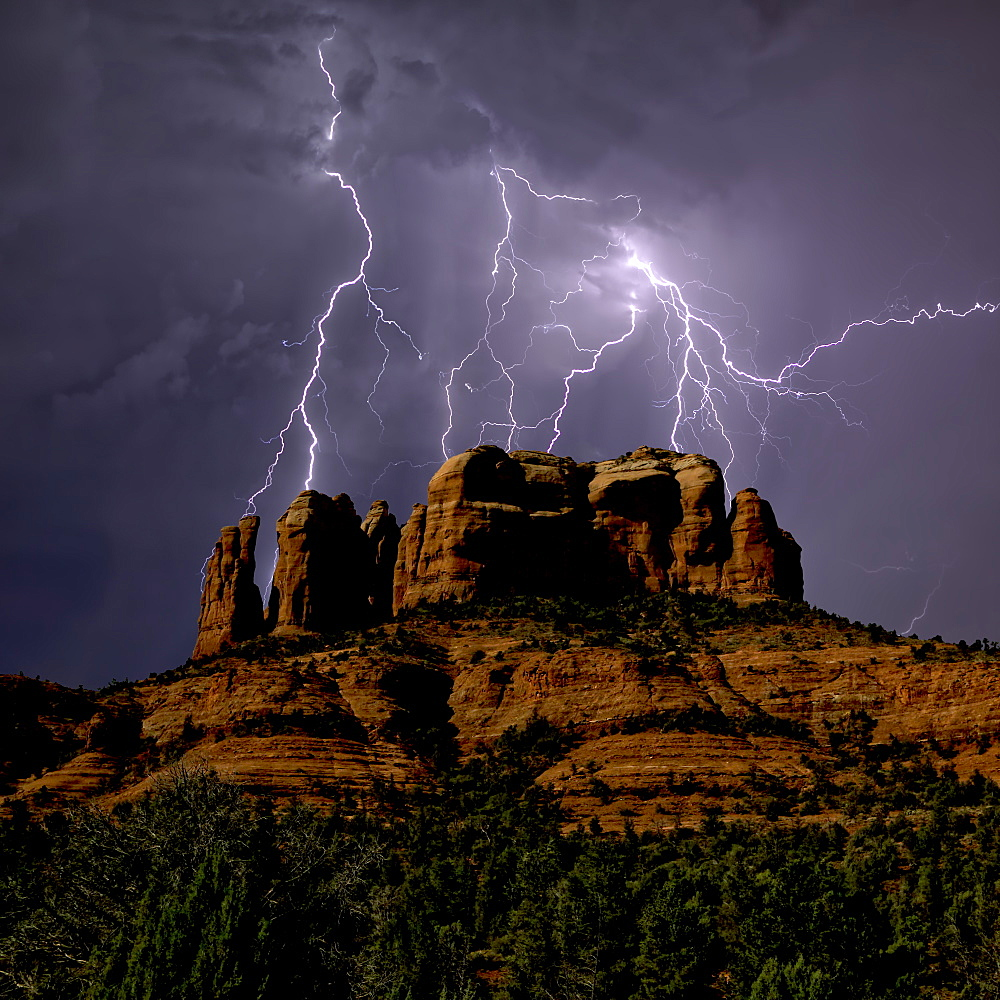 Composite photo of lightning striking southwest of Cathedral Rock in Sedona, Arizona, United States of America, North America