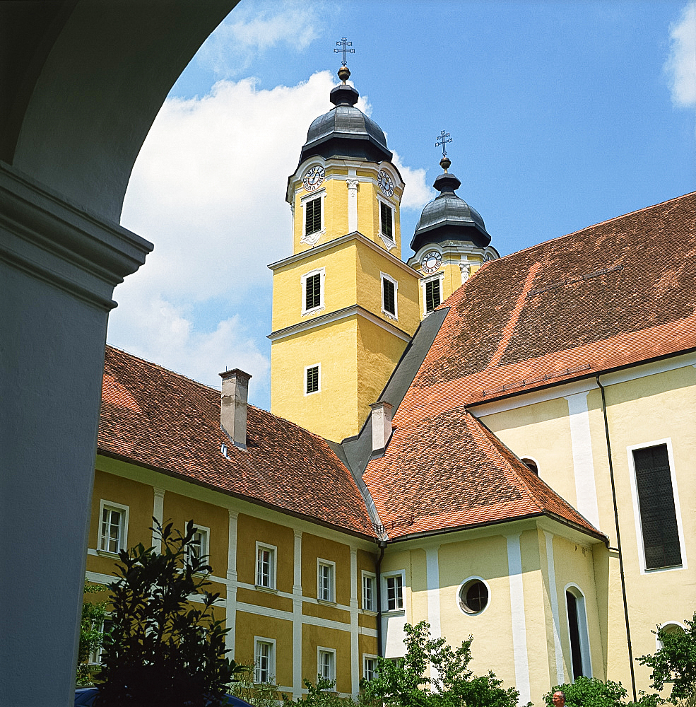 Church and castle, Stainz, Styria, Austria, Europe