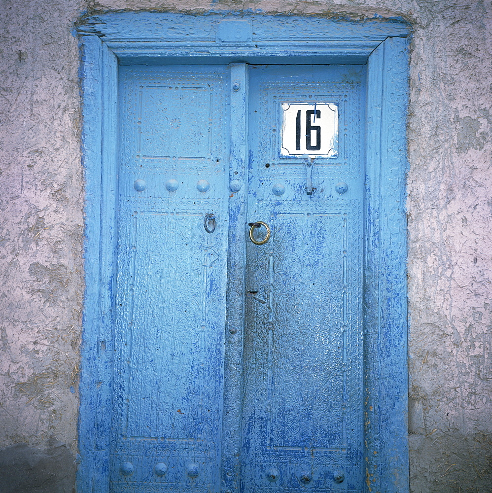 Blue door in the Jewish Quarter of the city of Bukhara, Uzbekistan, Central Asia, Asia