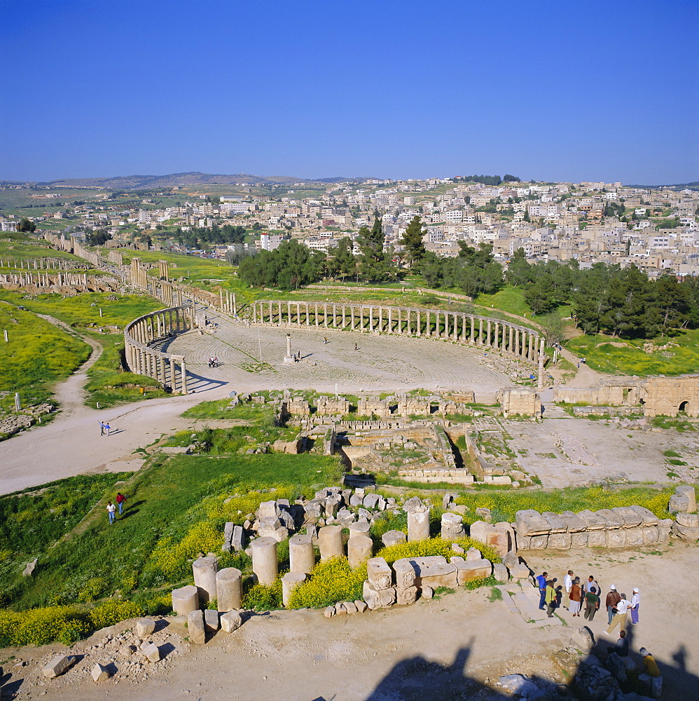Oval Forum of the Roman Decapolis city, 1st century AD, delineated by an Ionic colonnade, Jerash, Jordan