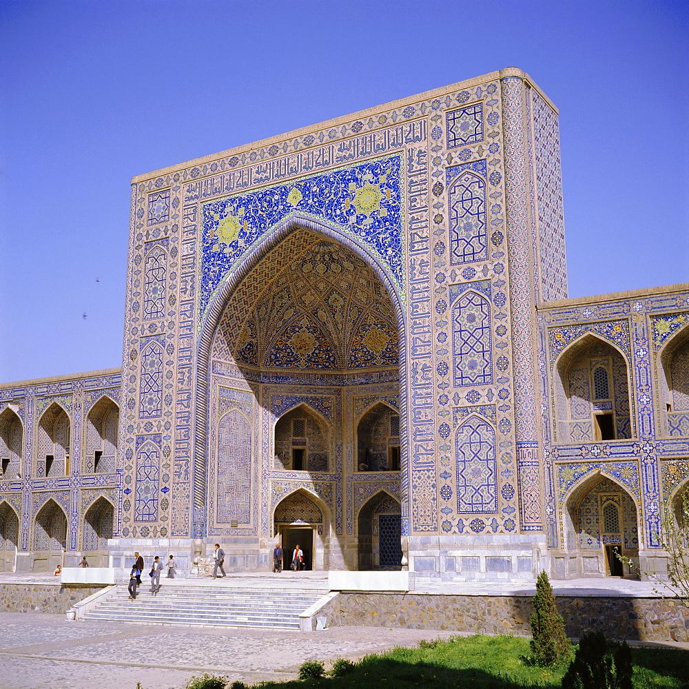 Tilla-Kari Madressa (madrasah) 1660, Registan Square, Samarkand, Uzbekistan, Eurasia