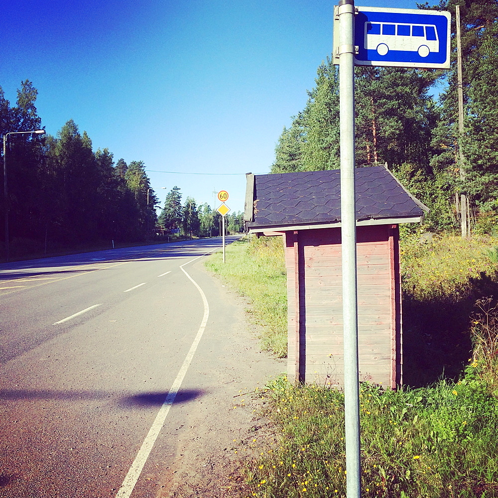 Traditional bus stop, Tesjoki, Loviisa, Finland, Europe - 690-596
