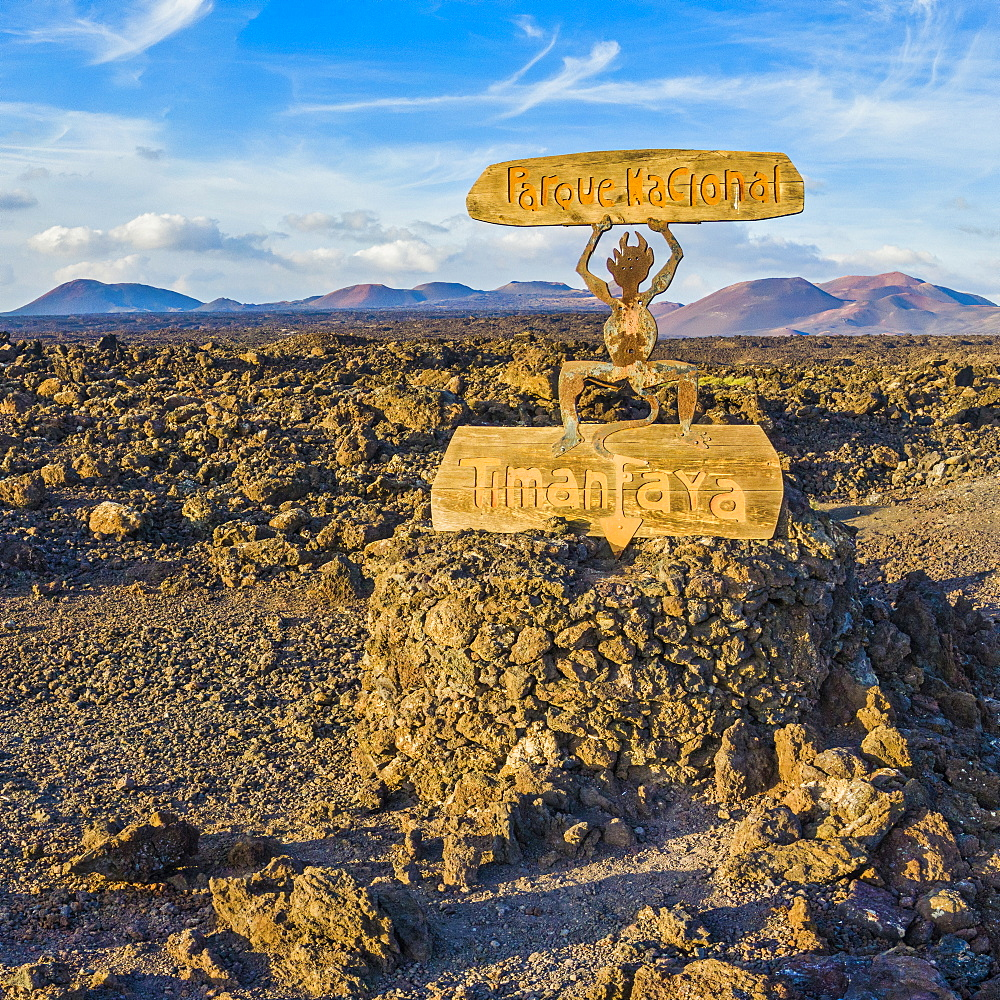 Spain, Canary Islands, Lanzarote, Timanfaya National Park, National Park entrance sign - 794-4824