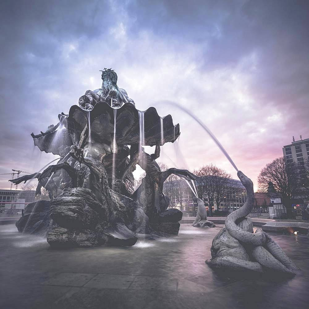Neptun fountain at Alexanderplatz square, Berlin, Germany, Europe