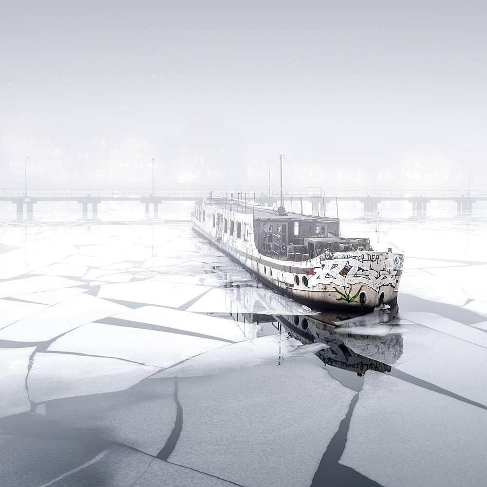 Fog at the abandoned passenger ship MS Dr. Ingrid Wengler in Osthafen, Berlin, Germany, Europe - 832-389794