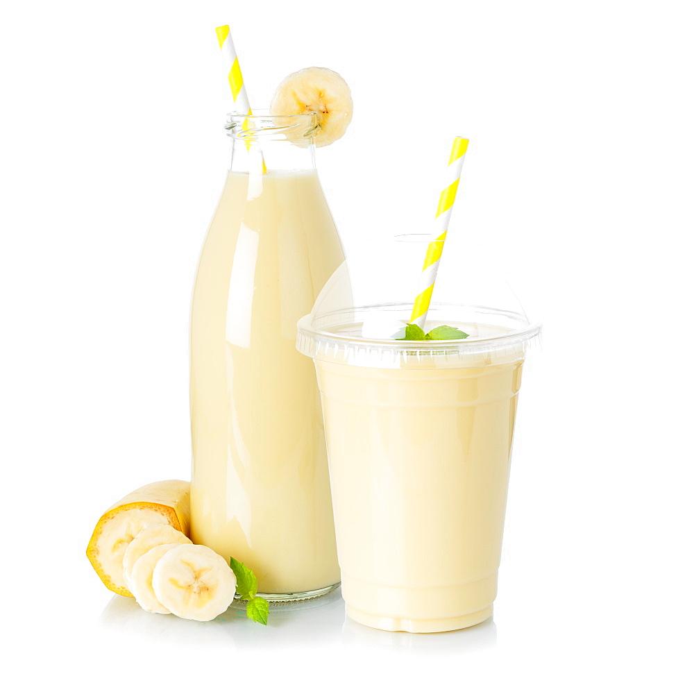 Banana Smoothie Fruit Juice Drink Juice Milkshake Milk Shake Cup Glass Bottle isolated against a white background - 832-390455