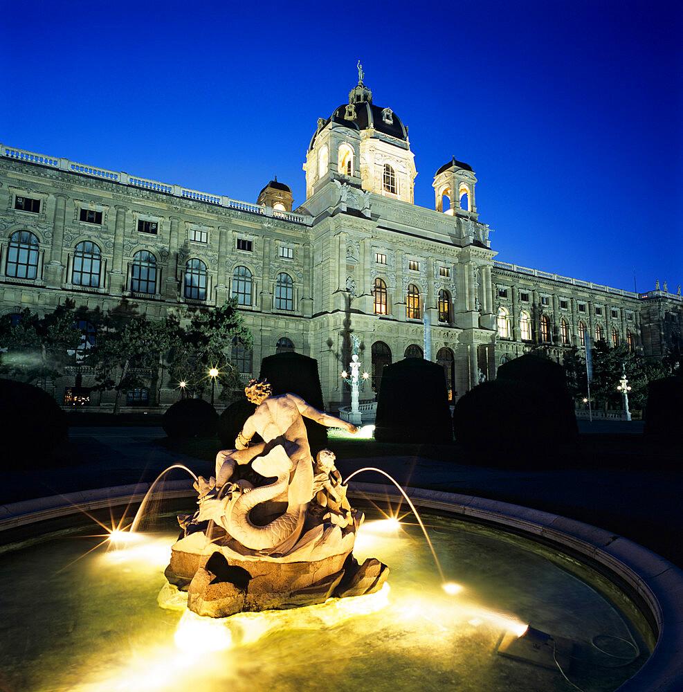 The Natural History Museum at night, Maria Theresien Platz, Vienna, Austria, Europe - 846-265