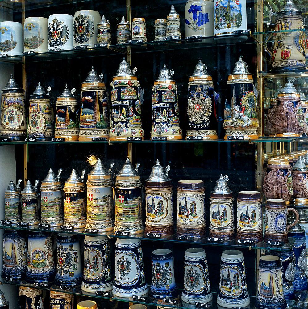 Souvenir shop-window displaying traditional Austrian beer tankards, Vienna, Austria, Europe - 846-284