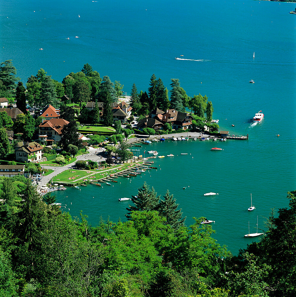 View over village and Lake Annecy, Talloires, Lake Annecy, Rhone Alpes, France, Europe - 846-541