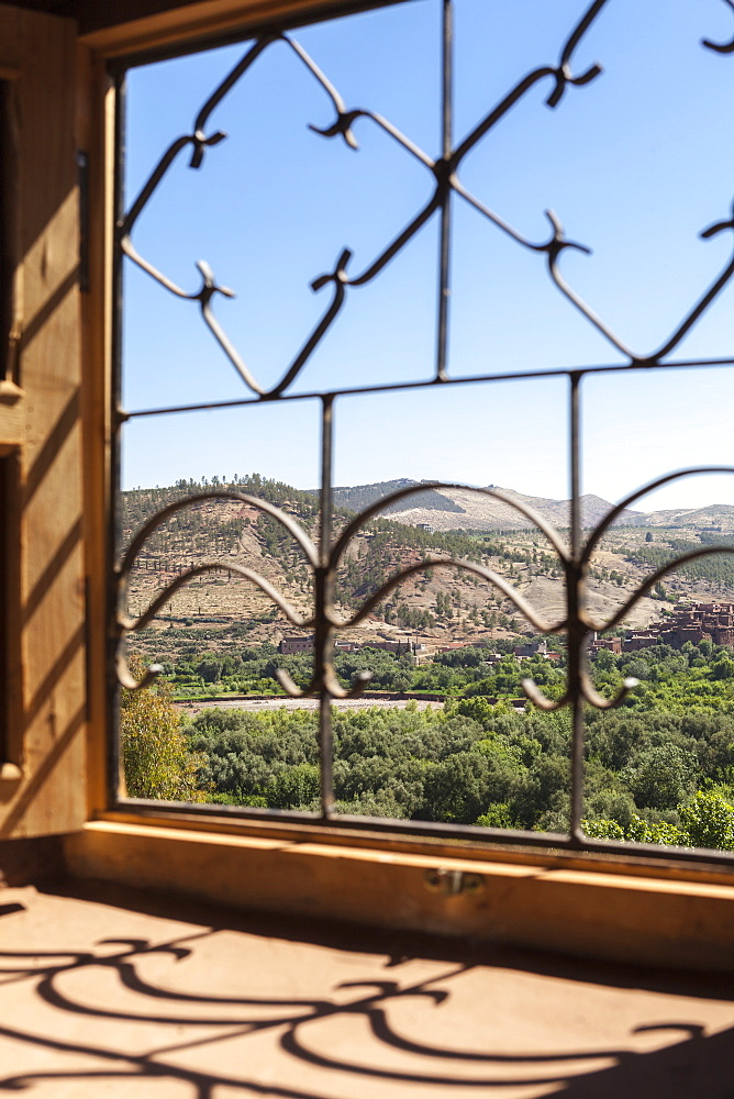A view of the Ourika Valley as glimpsed through the window of a traditional Berber house, Morocco, North Africa, Africa