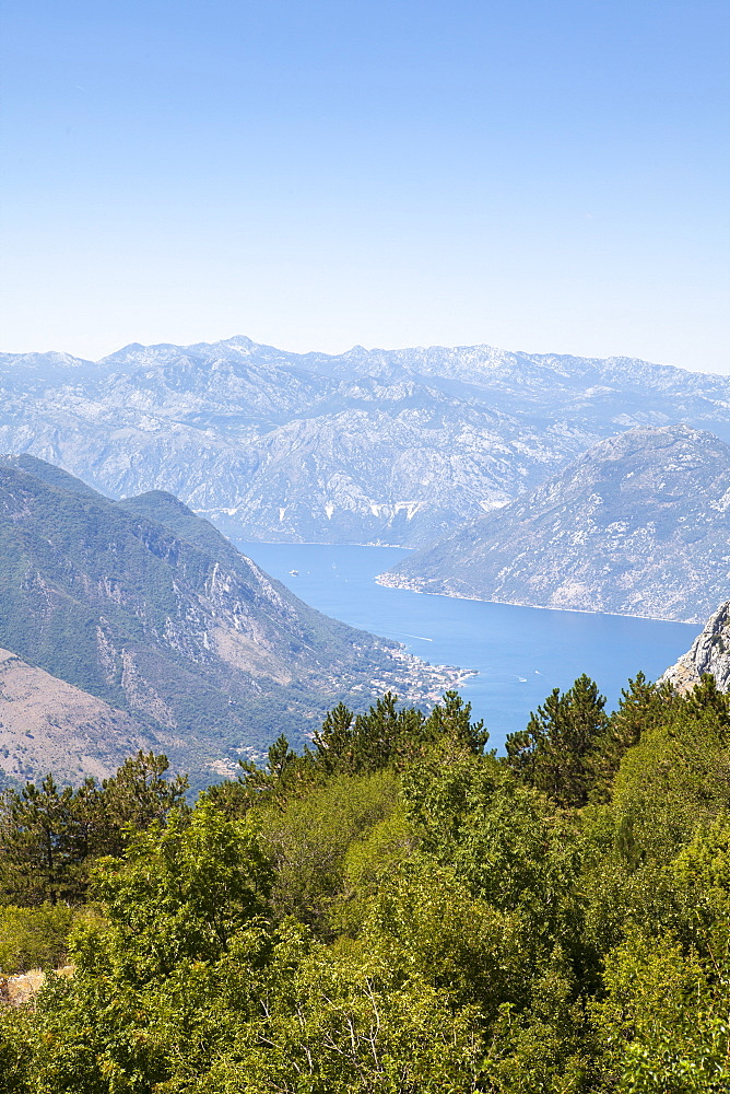 Views of the Bay of Kotor, UNESCO World Heritage Site, just outside of Lovcen Nation Park, Njegusi, Montenegro, Europe